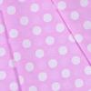 Ткань на отрез бязь плательная 150 см 1422/20 розовый фон белый горох фото