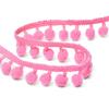 Тесьма с помпонами TBY-ТP-20 ширина 15-20 мм (упак 10 м) цвет F136 грязно-розовый фото