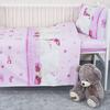 Постельное белье в детскую кроватку из поплина 1636/4 Мой ангелочек розовый с простыней без резинки фото