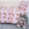 Постельное белье в детскую кроватку из бязи 1286/2 Соня розовый с простыней на резинке фото