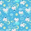 Мерный лоскут ситец 95 см 20029/1 Мышки цвет голубой 3,4 м фото