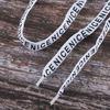 Шнурки с надписью 130см белые уп 2 шт фото