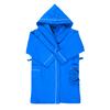 Халат детский вафельный с капюшоном синий премиум 116-122 см фото