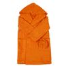 Халат детский махровый с капюшоном оранжевый 128-134 см фото