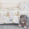 Постельное белье в детскую кроватку из поплина 11438/1 Лесные друзья с простыней на резинке фото
