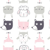 Ткань на отрез интерлок пенье Зверята розовые 5701-17 фото
