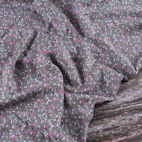 Ткань на отрез штапель 145 см 20015 Цветы на сером фото