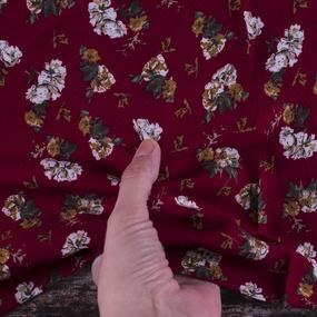 Ткань на отрез штапель 145 см 20016 Цветы на бордовом фото