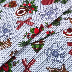 Маломеры вафельное полотно набивное 150 см 1083/2 Новогодняя фантазия 0.2 м фото