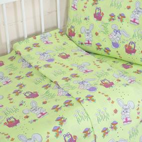 Постельное белье в детскую кроватку из бязи ГОСТ с нав.40/60 1304/3 Лесная сказка цвет зеленый (Б) фото