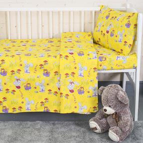 КПБ в детскую кроватку ГОСТ с нав.40/60 1304/5 Лесная сказка желтый (Б) фото