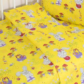 Постельное белье в детскую кроватку из бязи ГОСТ с нав.40/60 1304/5 Лесная сказка желтый (Б) фото