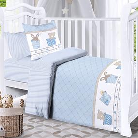 Наволочка бязь детская 8078 Спящие мишки голубой 40/60 см фото