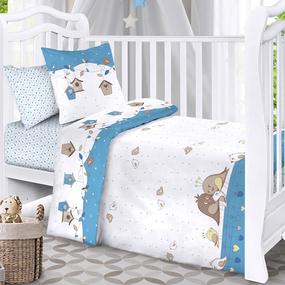 Наволочка бязь детская 8077 Птенчики цвет голубой 40/60 см фото
