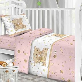 Простынь бязь детская 8071/3 Друзья цвет розовый 110/150 см фото