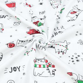 Ткань на отрез интерлок Кошки новогодние 2741-21 фото