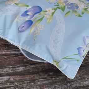 Наперник Тик кант молния 005 Цветная роза цвет голубой 70/70 фото
