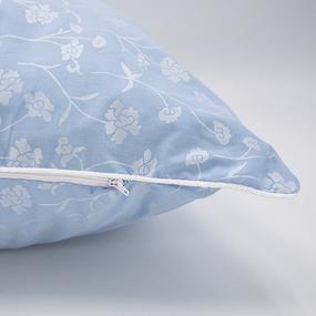 Наперник Тик кант молния 215 Ромашки цвет голубой серебро 70/70. фото