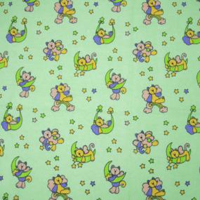Маломеры фланель 90 см 5790/1 Звездный котик цвет зеленый 1,9 м фото