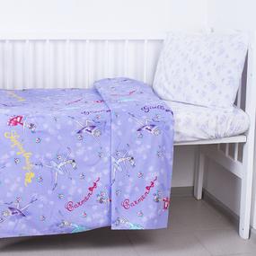 Постельное белье в детскую кроватку из поплина 10943/1 Балерина с простыней на резинке фото