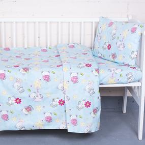 Постельное белье в детскую кроватку 1835/4 поплин с простыней на резинке фото