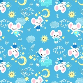 Мерный лоскут ситец 95 см 20029/1 Мышки цвет голубой 1,2 м фото