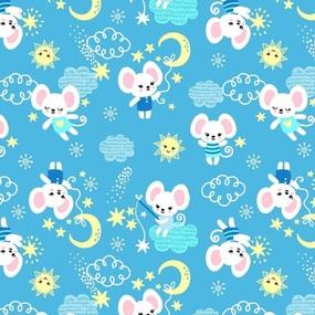 Мерный лоскут ситец 95 см 20029/1 Мышки цвет голубой 1,4 м фото