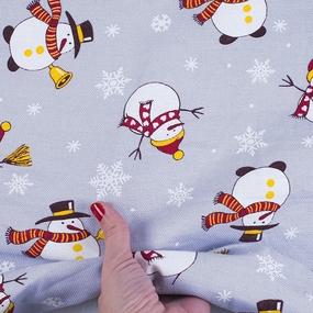 Ткань на отрез рогожка 150 см 97641 Снеговик цвет серый фото