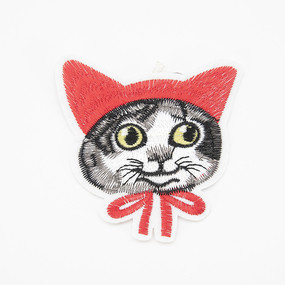 Аппликация кот в косынке 8*8,5см фото