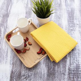Полотенце вафельное банное Премиум 150/75 см цвет 257 желтый фото
