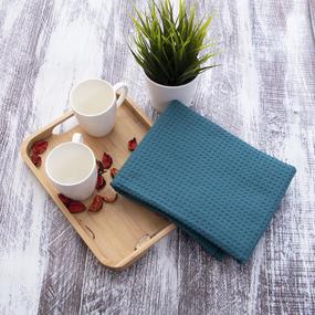 Полотенце вафельное банное Премиум 150/75 см цвет 576 зеленый фото