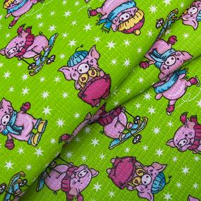 Ткань на отрез вафельное полотно набивное 150 см 1057/3 Веселая прогулка цвет зелёный фото