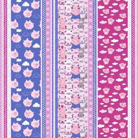 Ткань на отрез вафельное полотно набивное 150 см 1082/1 Поросята в облаках цвет сиреневый фото