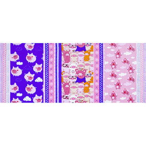Ткань на отрез вафельное полотно набивное 150 см 1082/3 Поросята в облаках цвет розовый фото