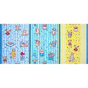Ткань на отрез вафельное полотно набивное 150 см 1089/1 Звездная семья цвет желтый фото