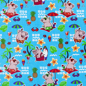 Ткань на отрез вафельное полотно набивное 150 см 7706/1 Свинки на пляже цвет голубой фото