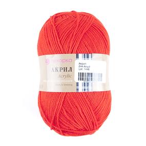 Пряжа для вязания ПЕХ Акрил 100гр/300м цвет 244 алый фото