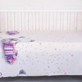 Простынь бязь детская 7347/1 Мишутка цвет розовый 110/150 см фото