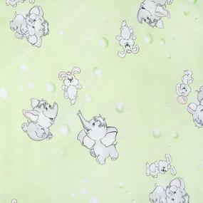 Простыня на резинке бязь детская 1285/3 Мамонтенок зеленый 90/200/20 см фото
