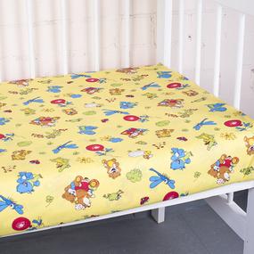 Простынь бязь детская 383/4 Зоопарк цвет желтый 110/150 см фото