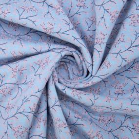 Ткань на отрез кулирка 2371-V7 Веточки цвет голубой фото