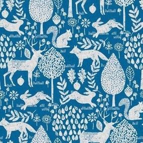 Ткань на отрез рогожка 150 см 20000/2 Сказочный лес цвет синий фото