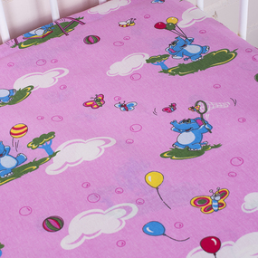 Простынь бязь детская 315/2 Слоники розовый 110/150 см фото