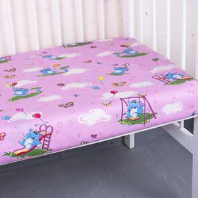 Простыня на резинке бязь детская 315/2 Слоники розовый 60/120/12 см фото