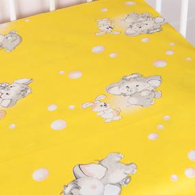 Простыня на резинке бязь детская 1285/5 Мамонтенок желтый 60/120/12 см фото