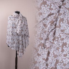 Ткань на отрез штапель Белые цветы на бежевом фото