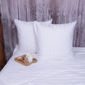 Наволочка страйп-сатин полоса 3х3 140 гр/м2 air jet цвет белый в упаковке 2 шт 70/70 фото