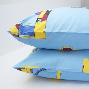 Наволочка Бязь 751/2 Графика цвет голубой в упаковке 2 шт 50/70 см фото