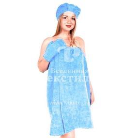 Набор для сауны женский цвет голубой фото