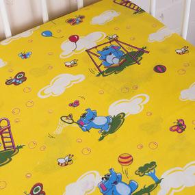 Простынь бязь детская 315/5 Слоники желтый 110/150 см фото